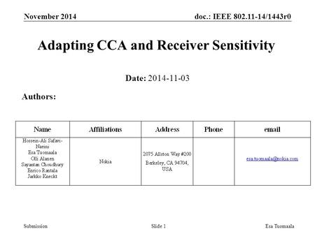 Doc.: IEEE 802.11-14/1443r0 SubmissionEsa Tuomaala Adapting CCA and Receiver Sensitivity Date: 2014-11-03 Authors: Slide 1 November 2014.