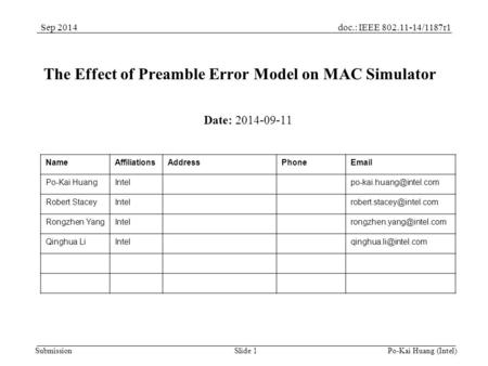 Doc.: IEEE 802.11-14/1187r1Sep 2014 Submission Po-Kai Huang (Intel) Slide 1 The Effect of Preamble Error Model on MAC Simulator Date: 2014-09-11 NameAffiliationsAddressPhoneEmail.