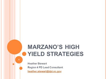 MARZANO'S HIGH YIELD STRATEGIES