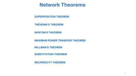 Network Theorems SUPERPOSITION THEOREM THÉVENIN'S THEOREM