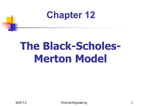 Valuation of stock options black scholes