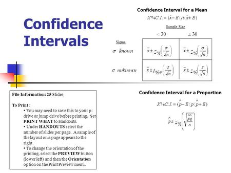 Confidence Intervals Confidence Interval for a Mean