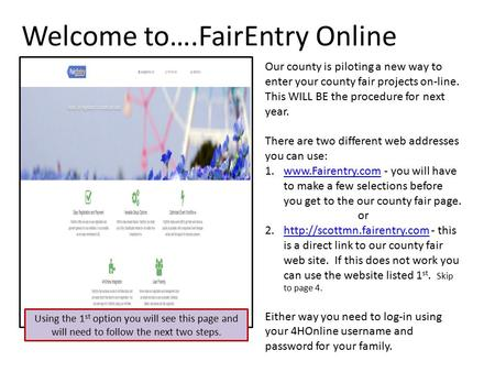 Welcome to….FairEntry Online