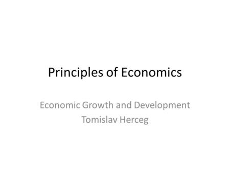 Principles <strong>of</strong> Economics