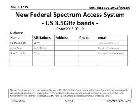 New Federal Spectrum Access System - US 3.5GHz bands -