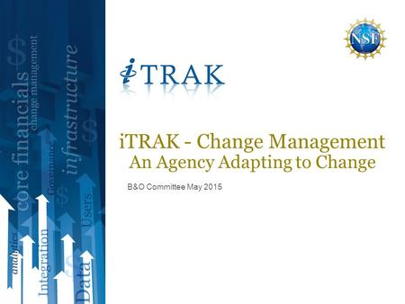 B&O Committee May 2015 iTRAK - Change Management An Agency Adapting to Change.