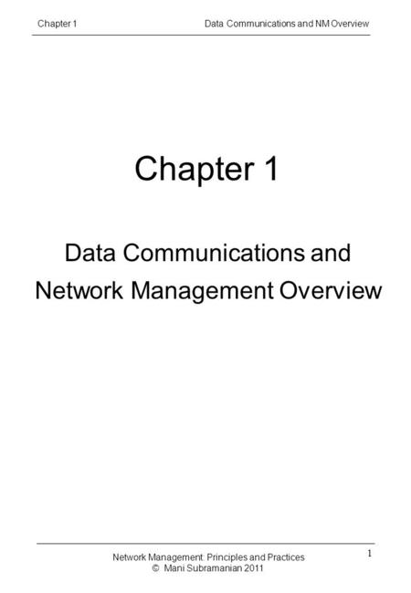 Chapter 1 Data Communications and Network Management Overview