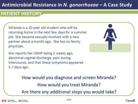 2014 PATIENT HISTORY How would you diagnose and screen Miranda? How would you treat Miranda? Are there any additional steps you would take? Antimicrobial.
