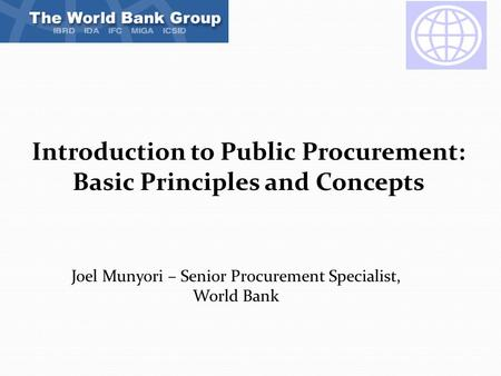 Introduction to Public Procurement: Basic Principles and Concepts