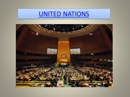 UNITED NATIONS. The United Nations (UN) is an intergovernmental organization established on 24 October 1945 to promote international co- operation.intergovernmental.