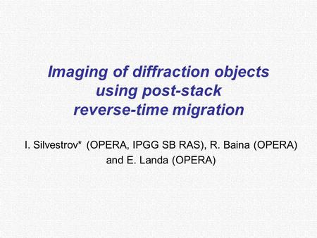 Imaging of diffraction objects using post-stack reverse-time migration