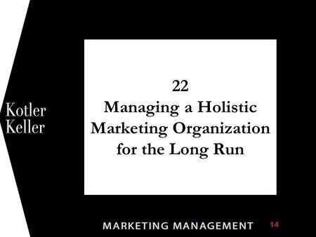 22 Managing a Holistic Marketing Organization for the Long Run