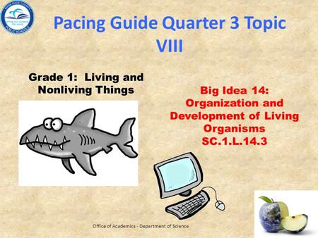 Pacing Guide Quarter 3 Topic VIII Grade 1: Living and Nonliving Things Big Idea 14: Organization and Development of Living Organisms SC.1.L.14.3 Office.