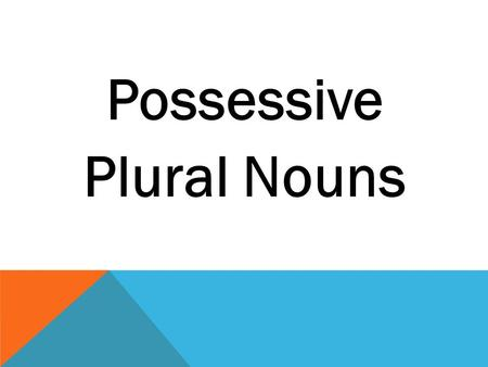Possessive Plural Nouns Possessive nouns are used to show that someone owns something. NounPossessive PamPam's cat catthe cat's tail SamSam's knee An.