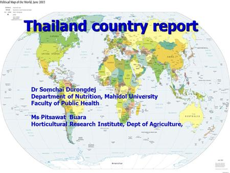Thailand country report