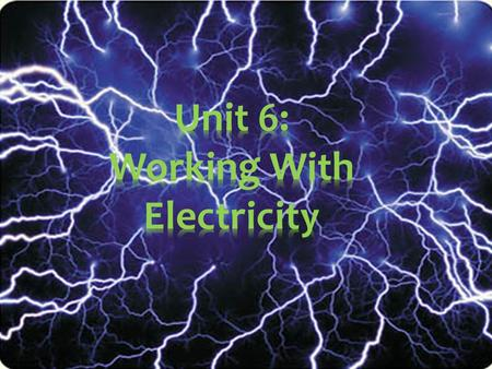Unit 6: Working With Electricity