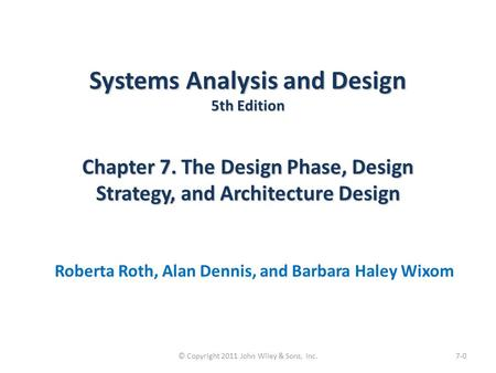 systems analysis and design 6th edition dennis pdf