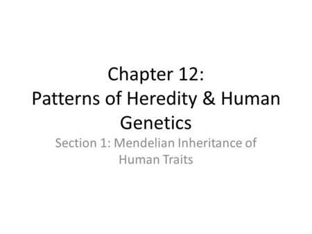 Chapter 12: Patterns of Heredity & Human Genetics