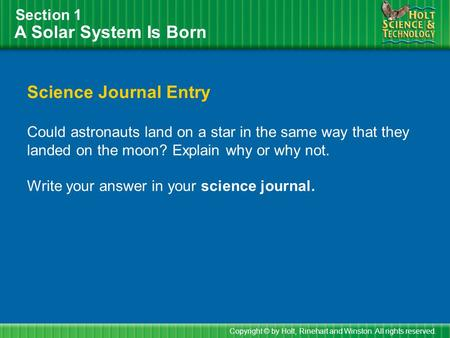 A Solar System Is Born Science Journal Entry Section 1