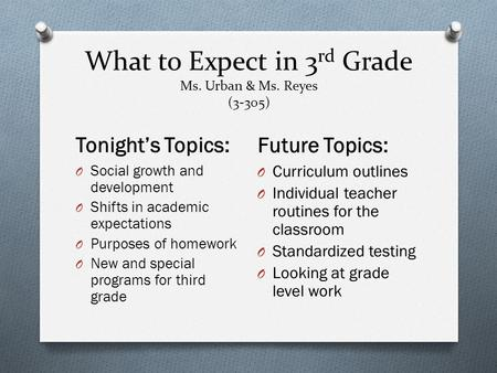 What to Expect in 3 rd Grade Ms. Urban & Ms. Reyes (3-305) Tonight's Topics: Future Topics: O Social growth and development O Shifts in academic expectations.