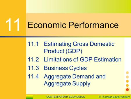 CONTEMPORARY ECONOMICS© Thomson South-Western 11.1 Estimating Gross Domestic Product SLIDE 1 Economic Performance 11 11.1Estimating Gross Domestic Product.