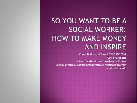 So You Want to be a Social Worker: How to make money and inspire
