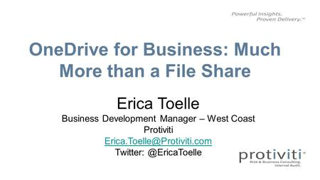 Agenda # Topic Time 1 What is OneDrive for Business? 30 min 2