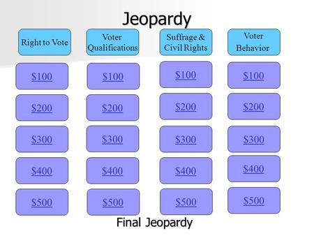 Jeopardy Final Jeopardy $100 $100 $100 $100 $200 $200 $200 $200 $300
