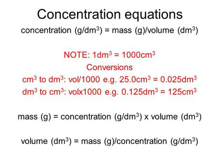 Concentration equations