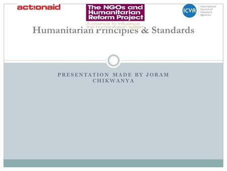 Humanitarian Principles & Standards