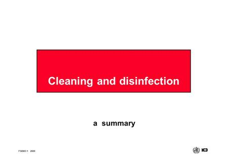 Cleaning and disinfection a summary FS0803 12000.