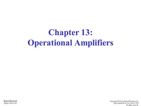 Chapter 13: Operational Amplifiers