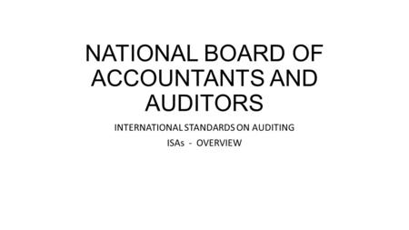 NATIONAL BOARD OF ACCOUNTANTS AND AUDITORS
