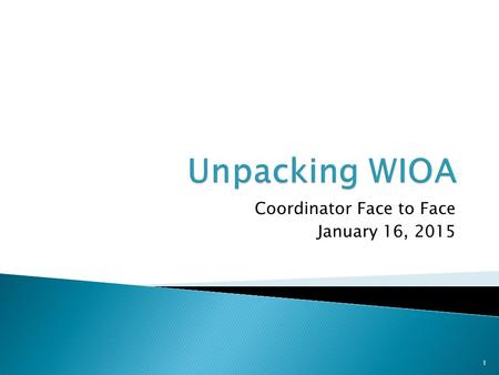 Coordinator Face to Face January 16, 2015 1. 2 Program Alignment Unified strategic planning across core programs Enhances role of State and Local Workforce.
