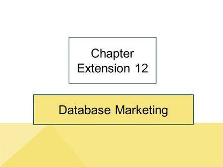 Chapter Extension 12 Database Marketing.