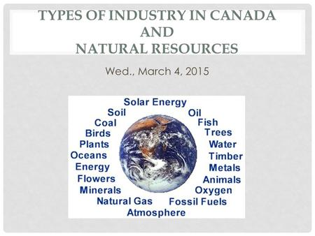 Types of Industry in Canada and Natural Resources