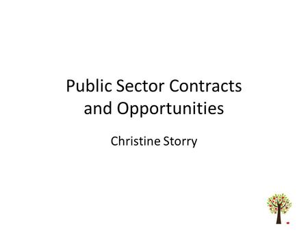 Public Sector Contracts and Opportunities Christine Storry.