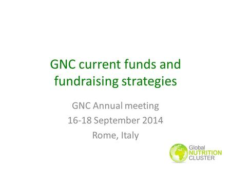 GNC current funds and fundraising strategies GNC Annual meeting 16-18 September 2014 Rome, Italy.