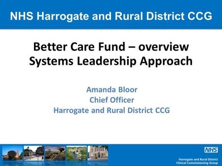 NHS Harrogate and Rural District CCG Better Care Fund – overview Systems Leadership Approach Amanda Bloor Chief Officer Harrogate and Rural District CCG.