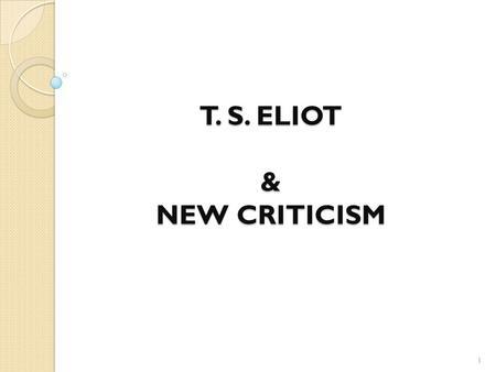 ts eliot as a modern critic