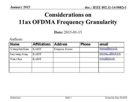 Considerations on 11ax OFDMA Frequency Granularity