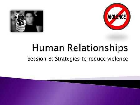 Session 8: Strategies to reduce violence