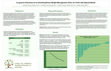 Long-term Outcomes of an Interdisciplinary Weight Management Clinic for Youth with Special Needs Meredith Dreyer Gillette PhD 1, 2, Cathleen Odar Stough.