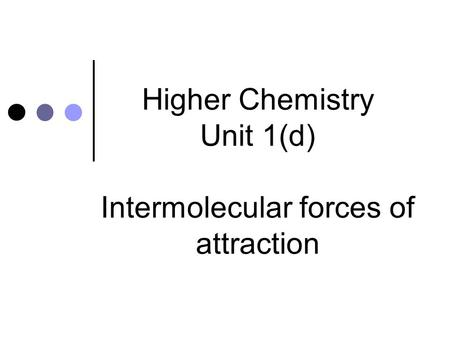 Higher Chemistry Unit 1(d) Intermolecular forces of attraction