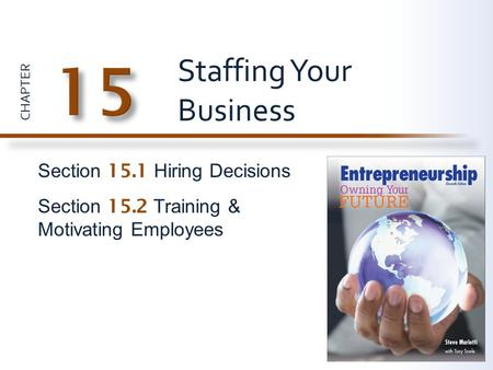 CHAPTER Section 15.1 Hiring Decisions Section 15.2 Training & Motivating Employees Staffing Your Business.