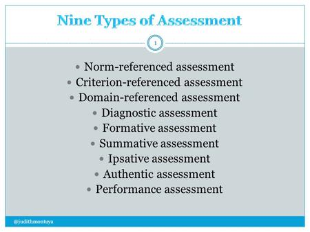 Norm-referenced assessment Criterion-referenced assessment Domain-referenced assessment Diagnostic assessment Formative assessment Summative assessment.