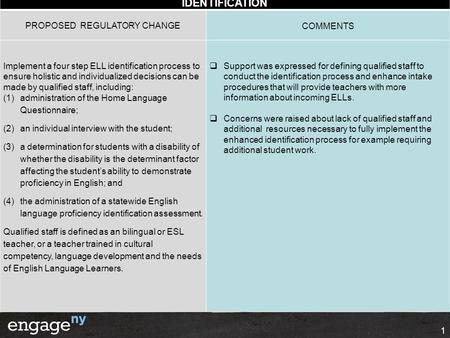 IDENTIFICATION 1 PROPOSED REGULATORY CHANGECOMMENTS Implement a four step ELL identification process to ensure holistic and individualized decisions can.