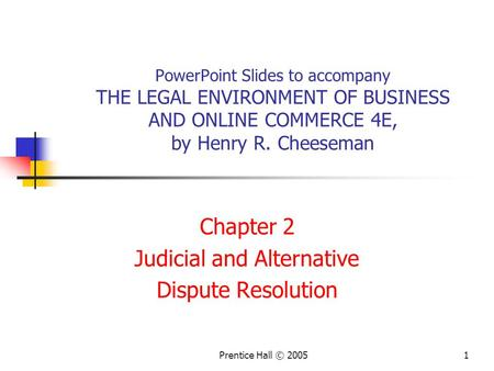 Chapter 2 Judicial and Alternative Dispute Resolution