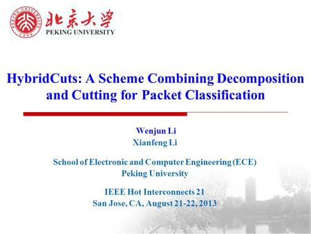 HybridCuts: A Scheme Combining Decomposition and Cutting for Packet Classification Wenjun Li Xianfeng Li School of Electronic and Computer Engineering.
