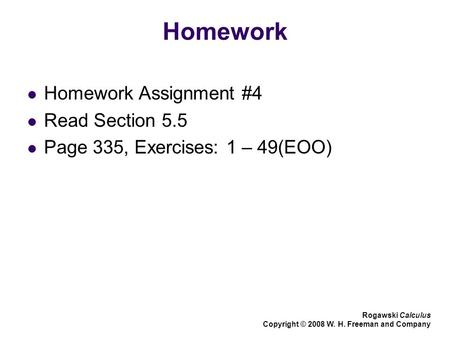 Homework Homework Assignment #4 Read Section 5.5